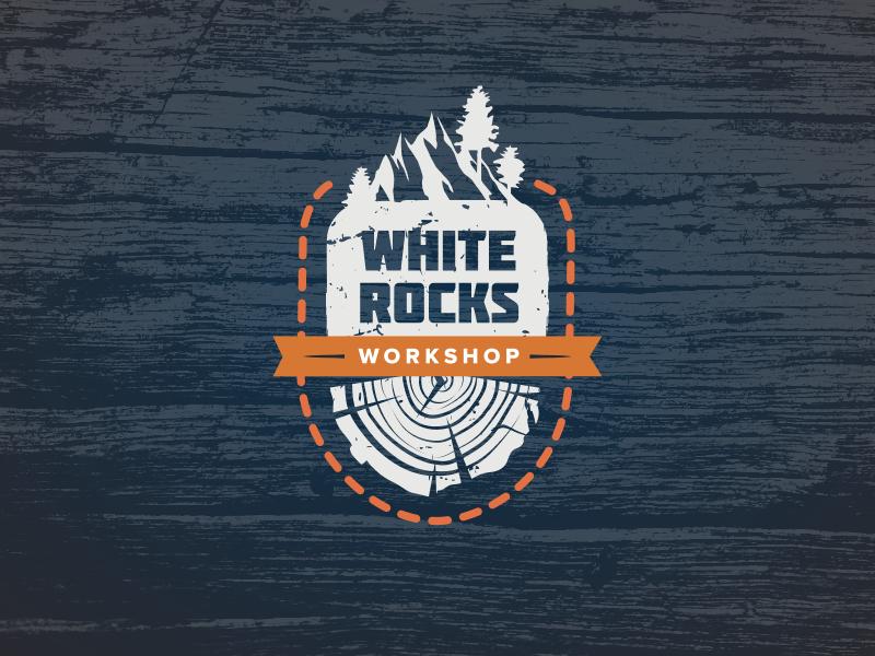 White Rocks Workshop wooden workshop handmade leather handcrafted white rock label logo
