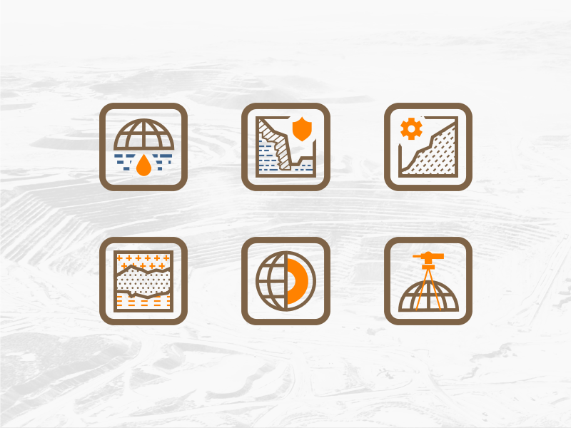 Mining Industry Icon Set geomechanics geophysics industry dump mine set core sign icon