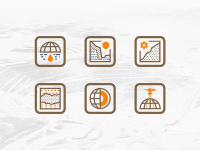 Mining Industry Icon Set geomechanics geophysics industry dump mine set core sign icon