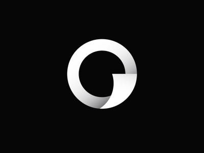 o and Paper Flip Logo Black and White