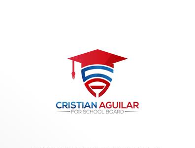 Cristian Aguilar for School Board latter logo education icon logo creative design