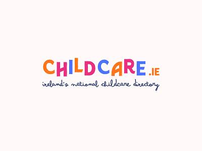 Childcare.ie ireland logotype blue logo graphism typography mtp montpellier illustration identity web vector design branding