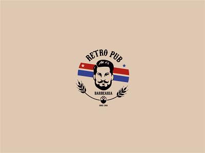 Barbearia Retrô Pub - Logo minimal icon logo design adobe photoshop 2d barber logo barber shop barbershop corte de cabeço pub retrô barbearia