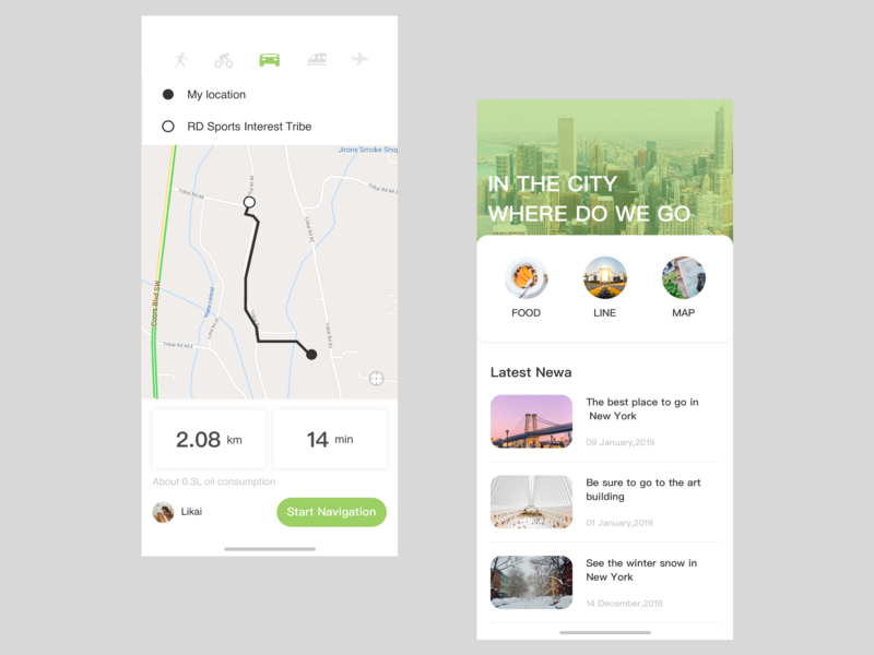 Tourism navigation interface design app