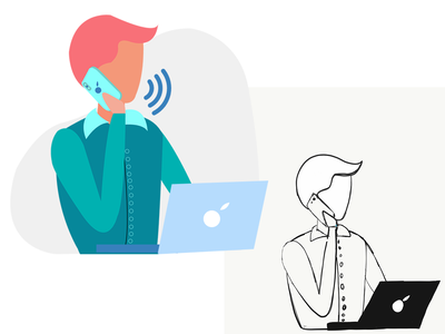 Phone Support- CRM/B2B speech speaker speak phone icon coding database guy illustration phone booth virtual assistant customer care client work phone conversation telemarketing b2b saas crm customer relationship management phone support phone call