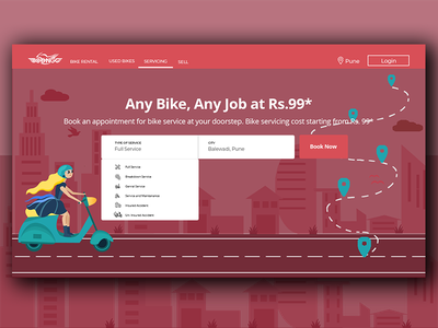 Bike Rental Landing Page visual design user interaction design interaction designer interaction design website concept website website banner above the fold abovethefold icons drop down menu home page buildings city scape book app call to action rent bike servicing landing page bike ride
