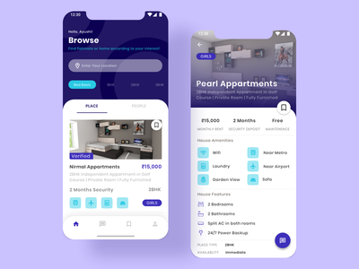 Roommate Finder App Design | Mobile App experiencedesign uiuxdesign iphone app mobile application prototype uxdesign mobile app design iphonex uiux mobile app appartment rent realestate real estate rental app home app room booking rooms roommates roommate
