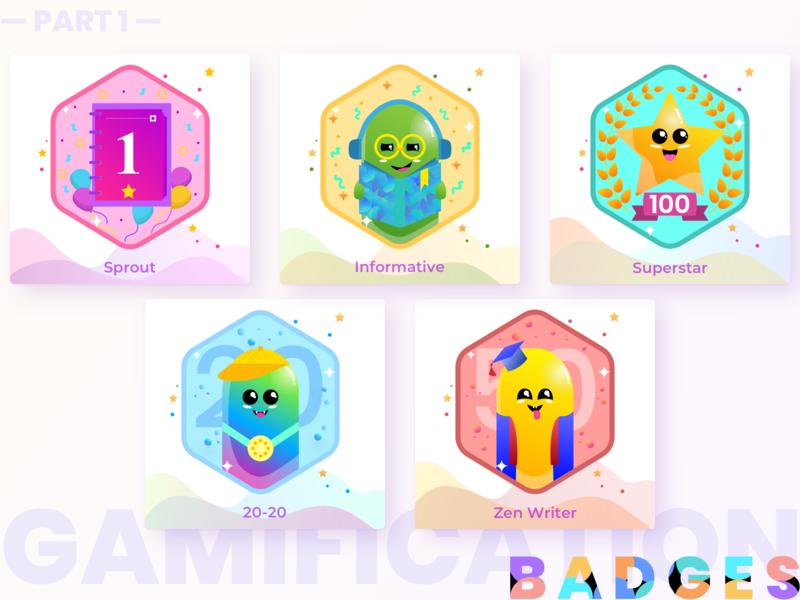 Badges | Gamification | Award illustration art blogger gamification characterdesign monsters badgedesign badge reward awards uxdesign ux badges gradient graphic design uiuxdesign illustration