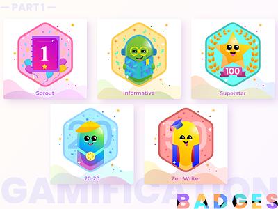 Badges | Gamification | Reward illustration art blogger gamification characterdesign monsters badgedesign badge reward awards uxdesign ux badges gradient graphic design uiuxdesign illustration