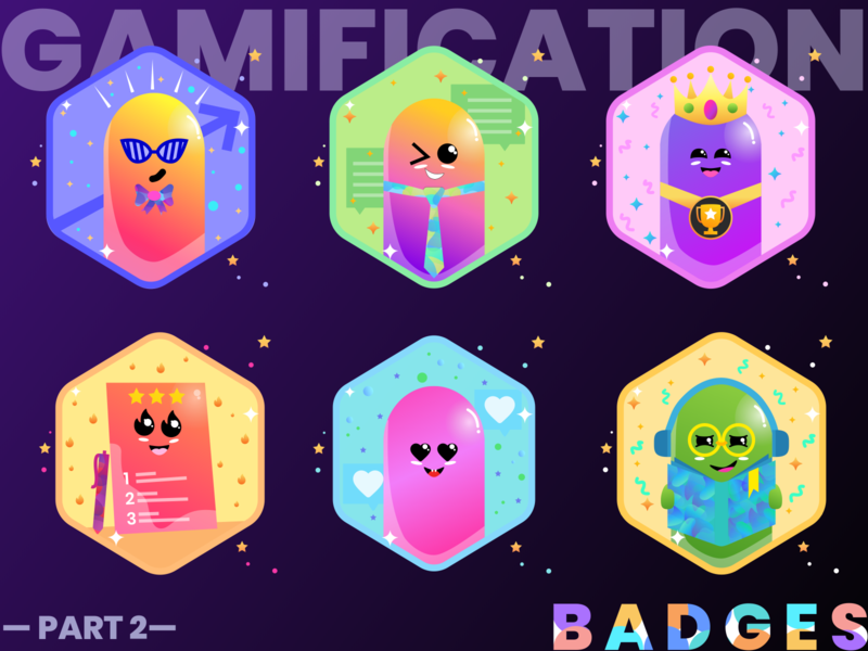 Badges | Gamification | Award user experience ux user experience gradient blog uiuxdesign character characters charater design characterdesign badge design illustration uxdesign gamification ux badgedesign award reward rewards awards badges