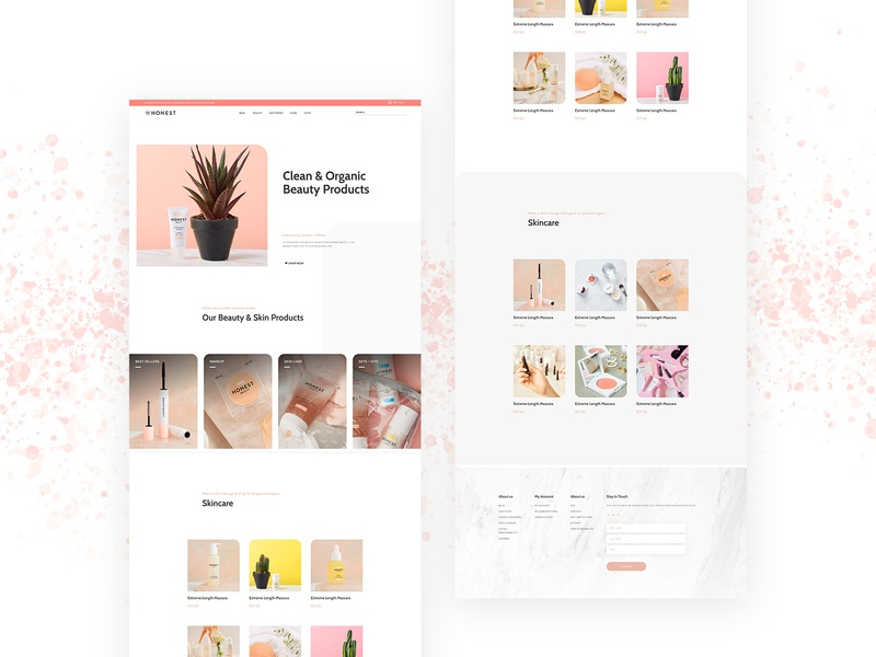Honest Beauty Landing Page minimalism ecommerce minimal branding ecommerce shop ecommerce design abstract web design product design