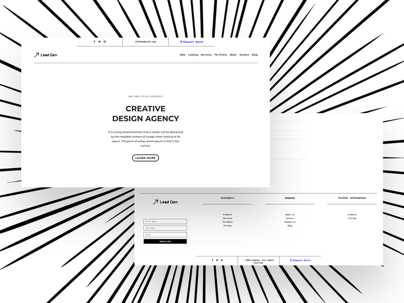 Minimal Header & Footer Combo clean ui graphic design ui minimalist minimal footer header web design