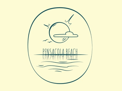 Pensacola Beach lineart vector art illustrator illustration