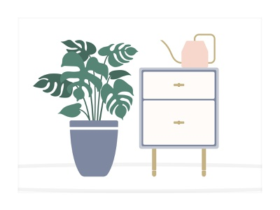 Mid-Century Modern Living Space illustration art illustration design living space illustrated scene modern design living room illustrated living space interior design end table watering can illustrator planter plants plant illustration illustrated plant plant daily ui design illustration