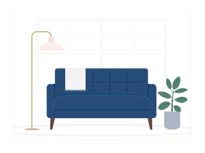 Comfy Couch Illustration plant illustration plant modern art mid century living space living room livingroom interior designs interior design illustration interior design illustrator illustrations illustration design illustration art illustration digital illustration design dailyui daily ui couch