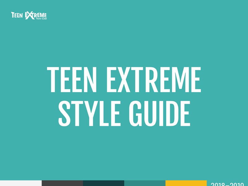 Teen Extreme Style Guide Excerpt camp brand identity branding brand awareness brand design modern brand modern minimalistic imagery type color brand guidelines brand identity design branding design brand styleguide style brand identity brand image branding style guide
