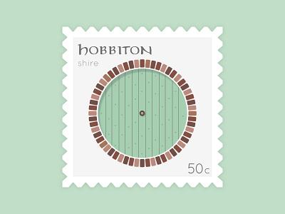Take Me To Hobbiton dribbbleweeklywarmup postage stamp graphic design daily ui illustrated design simple design stamp design vector postage stamp illustration