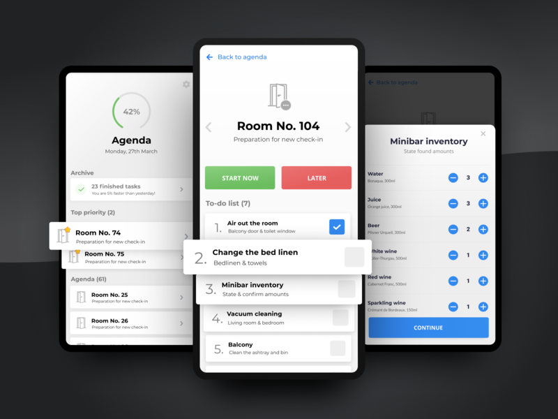 Hotel cleaning service app todo app todo chambermaid hotel app hotel uxui android ios ui design ux design ui ux interaction design app design app
