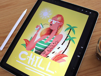 Chill Poster - Procreate procreate app postcard vacation tutorial procreate poster woman character illustration