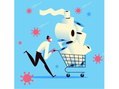 Toilet Paper Shopping virus toilet paper toiletpaper covid19 covid coronavirus 2d drawing editorial character design vector character illustration