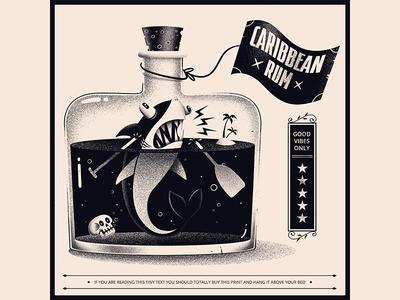 Caribbean Rum poster rum badge illustration shark design skull print