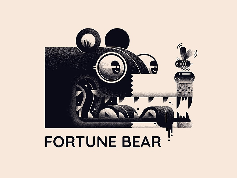 Fortune Bear Logo bee bear print icon logo illustration design graphic badge