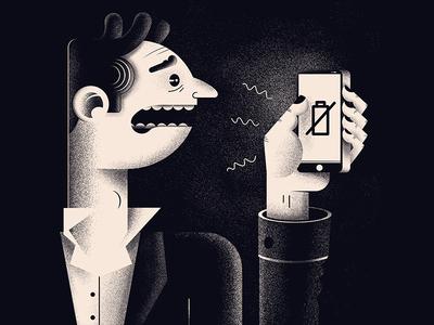 Late night drama magazine editorial black  white night character phone battery vintage illustration