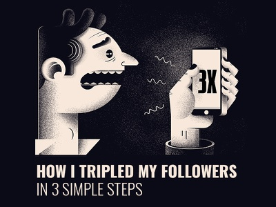 New blog post - X3 Followers blog phone night black design character illustration
