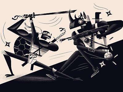 Leo & Rocky sword fight ninja turtle illustration tmnt