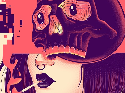 Skull Closeup poster glitch woman skull design character illustration