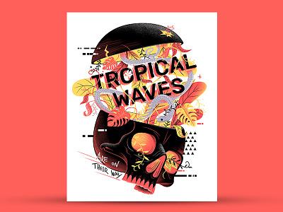 Tropical Waves red print poster snake skull illuatration