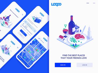 Loopo App Screens share food and drink food ux  ui ux animation startup branding startup location app location design ux illustration ui