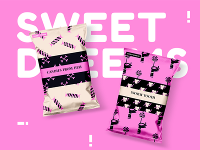 Candy Packaging for Sweet Dreams brand identity branding candy pink typogaphy package design package illustration design print