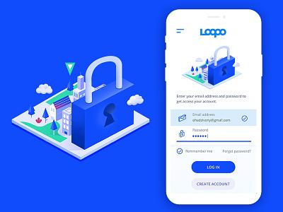 Log In Screen isomatric ux screen lock blue in log mobile app mobile app branding design illustration ui