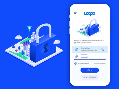 Log In Screen isomatric ux screen lock blue in log mobile app mobile app branding design illustration ui