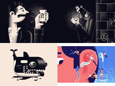 2018 Top Shots editorial character illustration