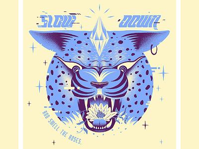 Slow Cheetah slow blue type animal cheetah poster design print illustration