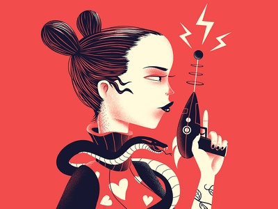 Love is a Laserquest sci-fi love laser gun snake red woman character illustration