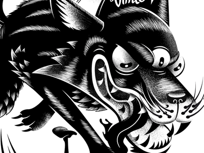 Wolf black  white wolf character design print illustration
