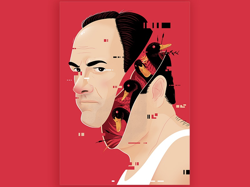 Those Goddamn Ducks red portrait duck soprano tony sopranos print illustration