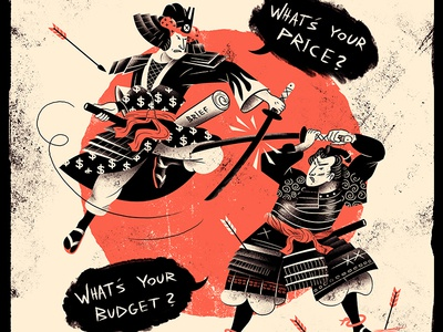 Pricing Battle japan samurai freelance pricing poster print illustration