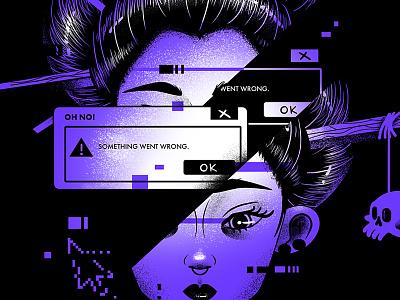 Oh No! japan face glitch window error message design ui skull woman print character illustration