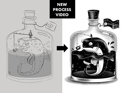 Fish Illustration Process character blackandwhite fish drawing tutorial process illustration