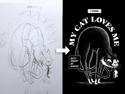 I Think My Cat Loves Me sketch tutorial process cat print poster illustration