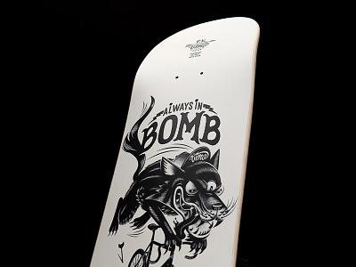 Skateboard art for Missaid bike white black blackandwhite print skateboard board skate wolf illustration