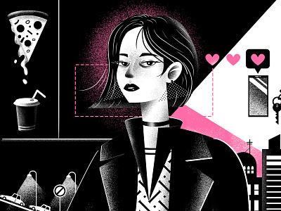 Girl & Dog (illustration process) city pink dog illustration character design dog woman poster design character illustration