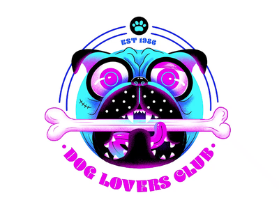 Dog Lovers Club typography branding bone badge logo pug dog design character print illustration
