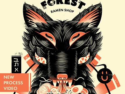 Ramen Shop Poster shop poster branding typogaphy japan wolf ramen poster print illustration