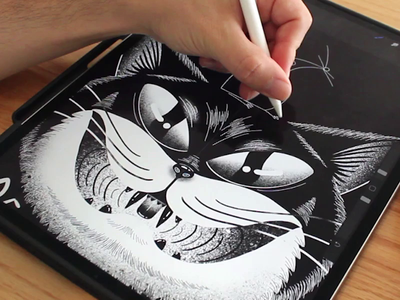 Cat & Mouse Drawing on iPad tutorial process tshirt print drawing procreate ipad mouse cat illustration