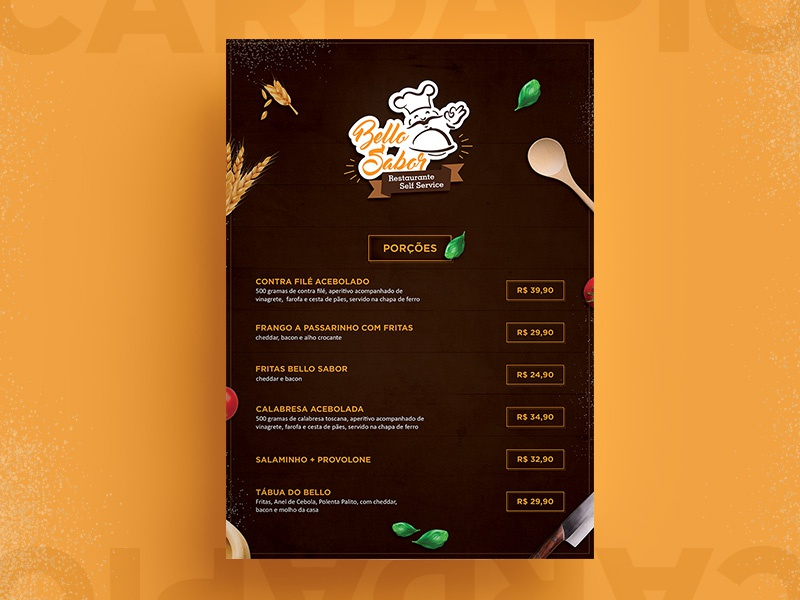 Bello Sabor mockup design food restaurant menu